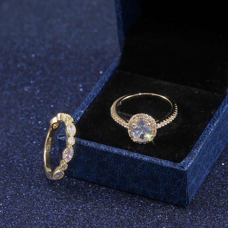 Huitan Trendy Gouden Kleur 2Pc Bridal Ring Sets Vrouwen Bruiloft Engagement Gadget Midi Ringen Met Dazzling Aaa Kubieke Zirkoon