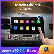 Awesafe px9 para honda civic 8 2005-2011 rádio do carro reprodutor de vídeo multimídia gps nenhum 2din 2 din android 10.0 2gb + 32gb