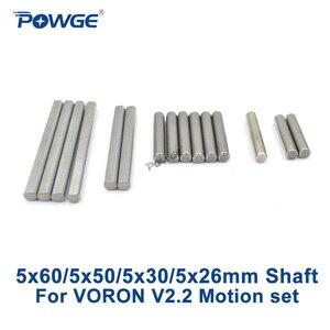 POWGE ВОРОН V2.2 движения линейный вал Установить Grind плоские круглые Длина 26/30 / 50/60 мм Диаметр 5 мм стальной стержень хромированная Liner