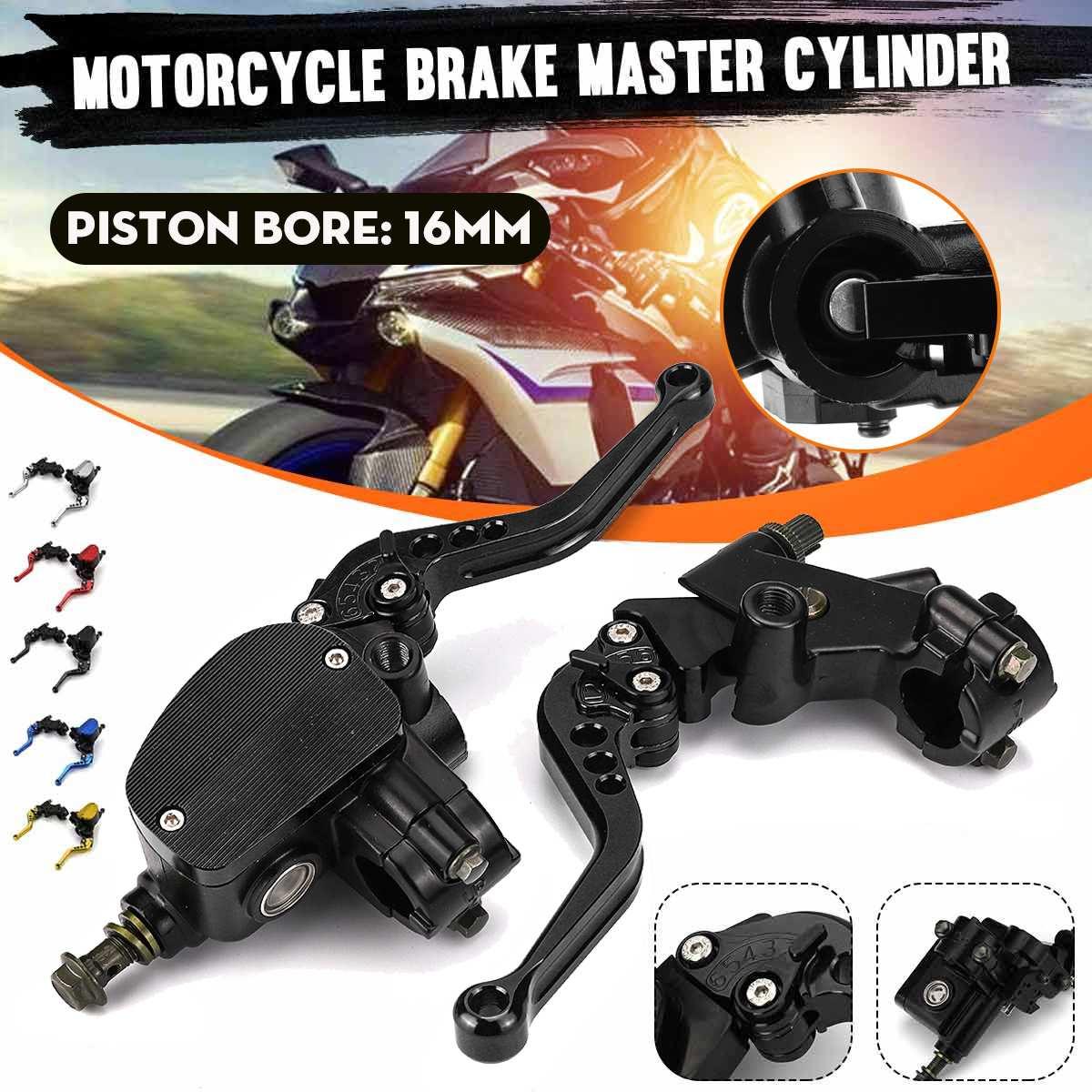 Pair Universal Motorcycle Hydraulic Brake Clutch Master Cylinder Reservoir Lever