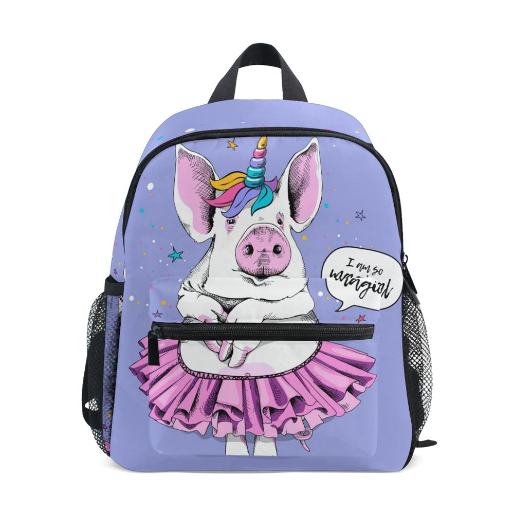 ALAZA School Bags Pig unicorn Printing Korean Style Children Backpacks Girl Large Capacity Backpack Bag For Kids Mochila