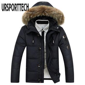 winter children 80% white duck down jacket boys girls warm real fur collar hooded snow coat parka kids thick outerwear coat e249 2019 New Brand Winter Jacket Men Big Size 3XL 4XL Real Fur Collar Hooded White Duck Down Jacket Thick Down Jackets Men Warm Coat