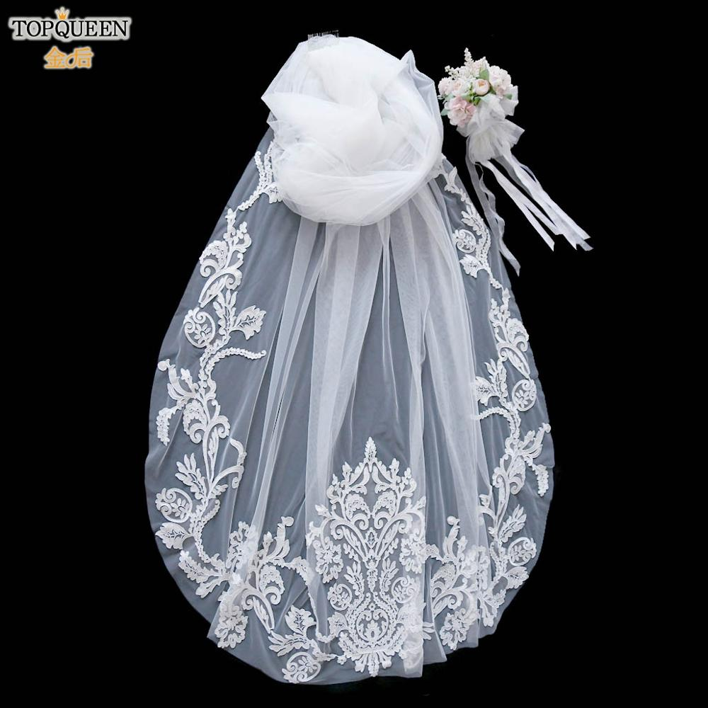 TOPQUEEN V62 3 Meter Cathedral Wedding Veils Cut Edge Edge Bridal Veil with Comb One Layer Bridal Veil Applique Bride Hairwear