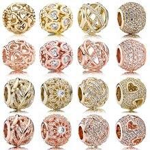 Реальный ажурный розовое золото внутреннее сияние Откройте своё сердце Galaxy Шарм 925 стерлингового серебра бисер Подходит модный браслет, сд...
