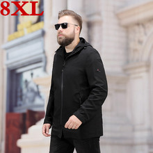 2019 new Spring And Autumn high quality Plus size 8XL 7XL Men Coat Casual Loose Have Hat Super Large SizeJacket