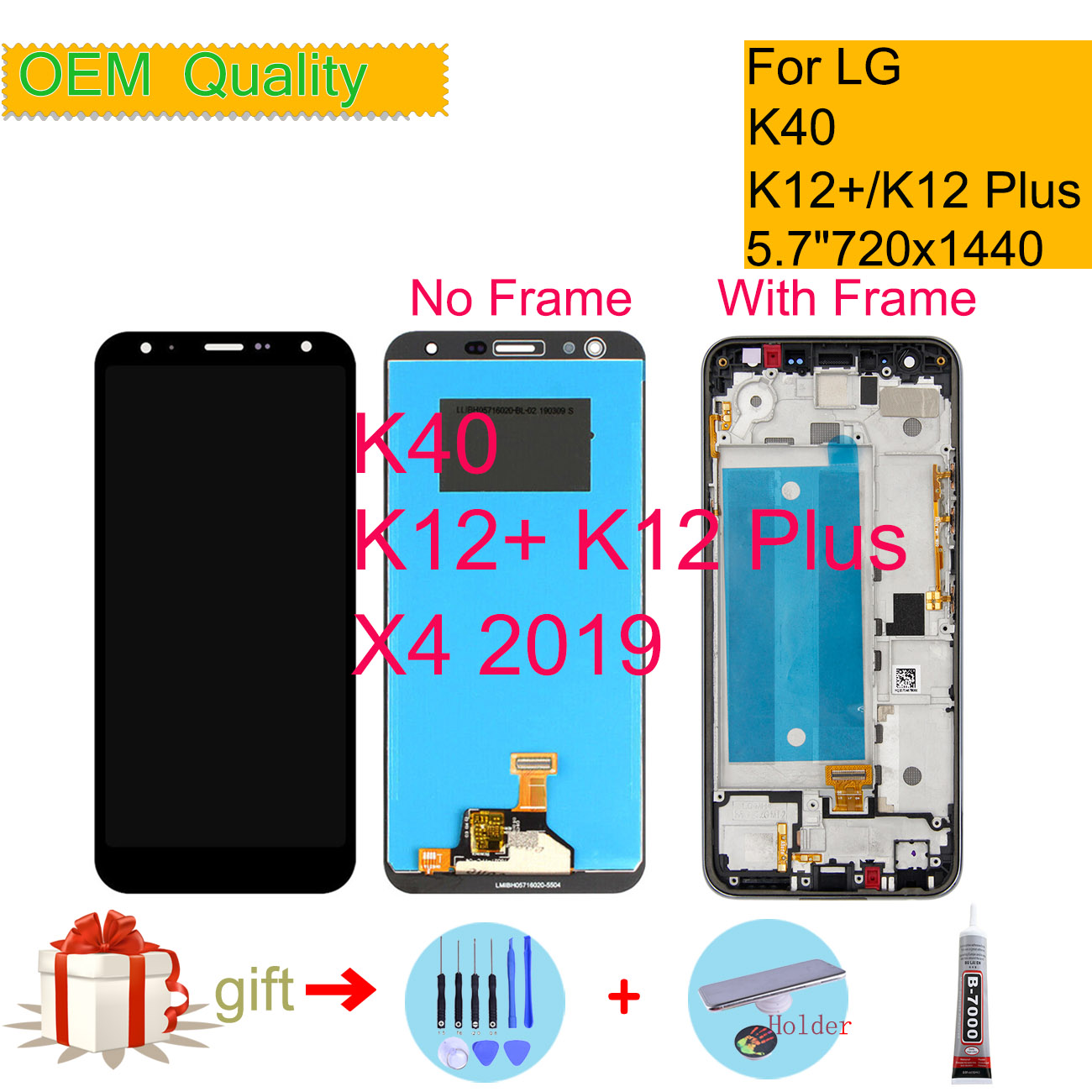 ORIGINAL 5.7'' For LG K40 LCD Touch Screen Digitizer Replacement Parts For LG X4 2019 LCD For K12 Plus Display LMX420
