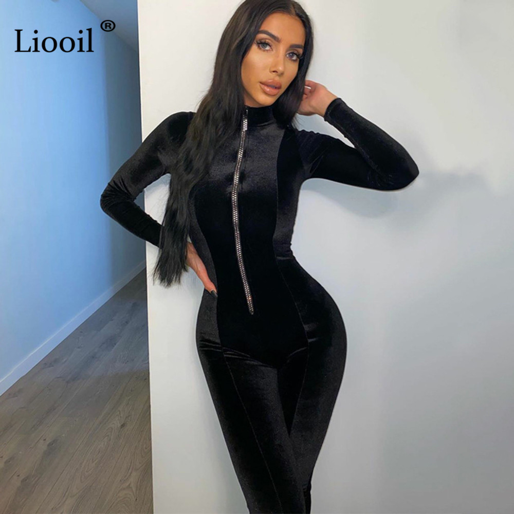 Liooil Sexy Zip Up Velvet Jumpsuits For Women 2020 Long Sleeve O Neck Bodycon Party Club Rompers Womens Jumpsuit Black Overalls