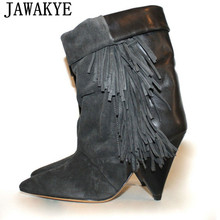 Ankle-Boots Heel Fringe-Tassel Suede Pointed-Toe Women Ladies for 8cm Spikehigh Short