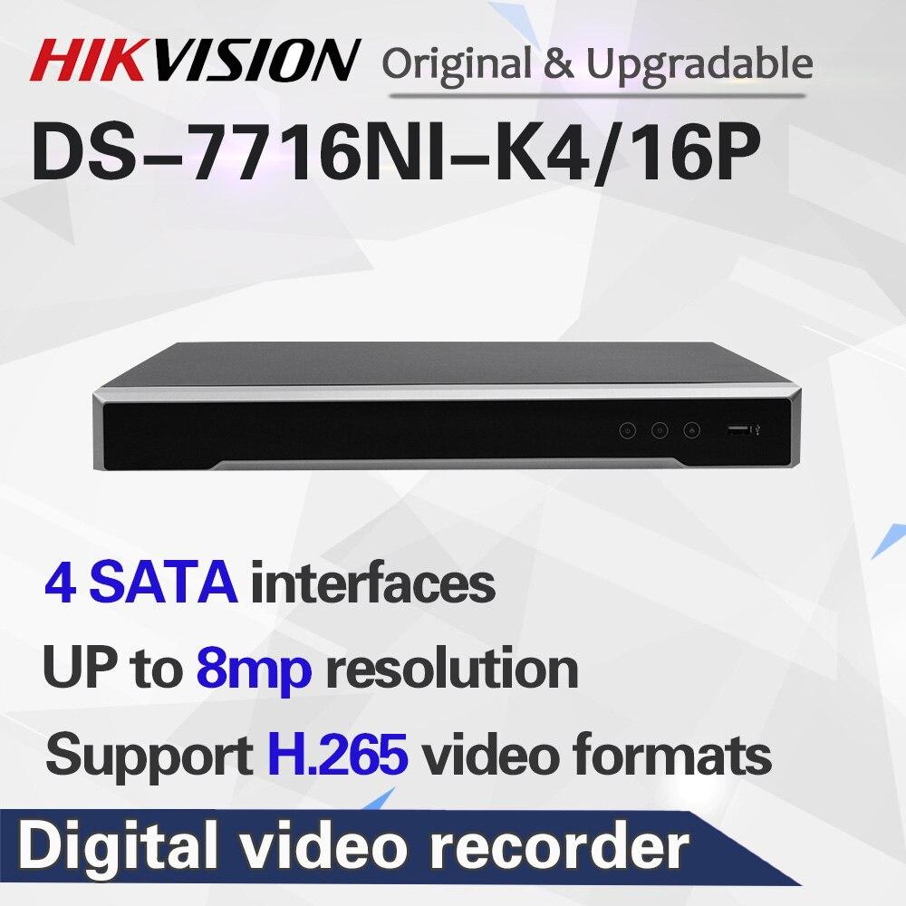 Бесплатная доставка DS-7716NI-K4/16 P 16POE NVR с 4SATA HDMI до 4 K, запись по тревоге до 12 МП