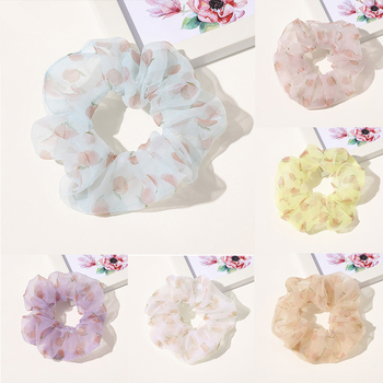 Lovely Organza Scrunchie Women Peach Printed Hair Rope Girls Ponytail Holder Hair Accessories Summer Headwear Elastic Hair Bands image