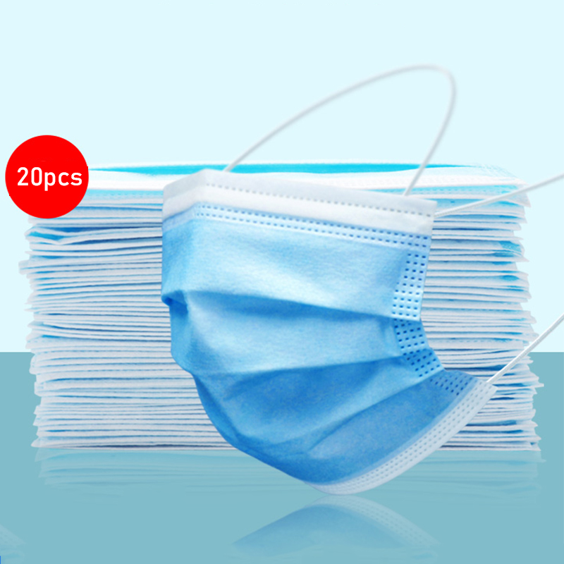 20pcs Face Mask 3-Layer Non-woven Disposable Mouth Mask Breathable Proof Flu Bacteria Hygiene Face Mask Windproof Anti Dust