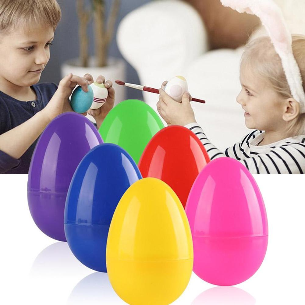 6Pcs/Lot Easter Eggs Plastic Decoration Handmade Toy Bright Colorful Holiday Decorations Children Drawing Toys