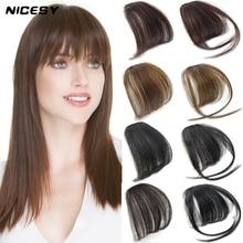 Fake-Hair Air-Bangs Synthetic-Extension Clip-In Natural Brown Black Light Dark NICESY