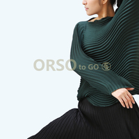 Issey Miyake Design Pleated T Shirt Women Solid Color Long Sleeve Wave Shirts Tops Fashion High Quality Women Clothes