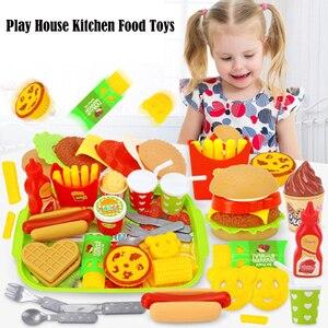 22Pcs/Set Children kitchen food toys Play house simulation toys Burger Fries Hot Dog Set Educational Toys For kids