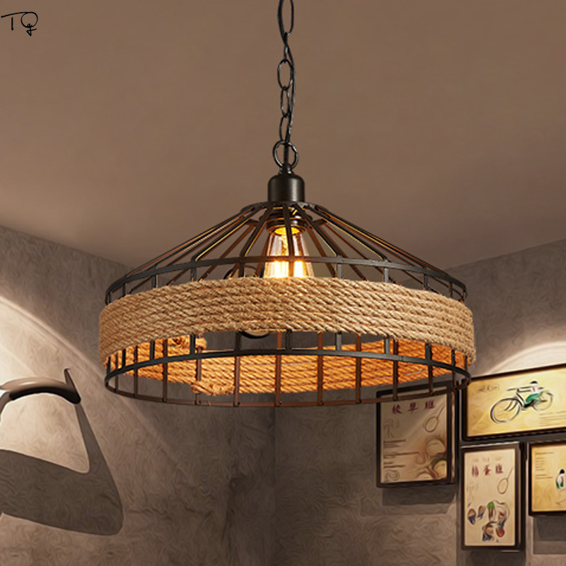 Americancountry Industrial Vintage Hemp Rope Pendant Lighs Bar Coffee Restaurant Living Room Studio Balcony Indoor Light Fixture