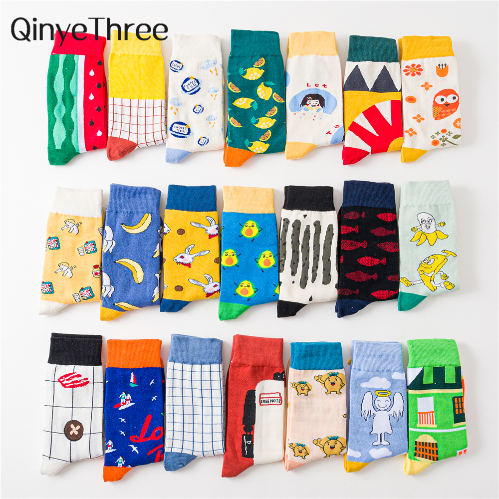 Women Happy Funny Cute Cartoon Fruit Animal Harajuku Skateboard Socks Owl Banana Angel Watermelon Bunny Avocado Chirstmas Gift