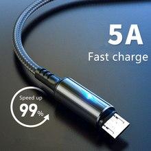 Micro cabo usb 5a led carregamento rápido micro cabo de dados para huawei samsung xiaomi android acessórios do telefone móvel carregador cabos