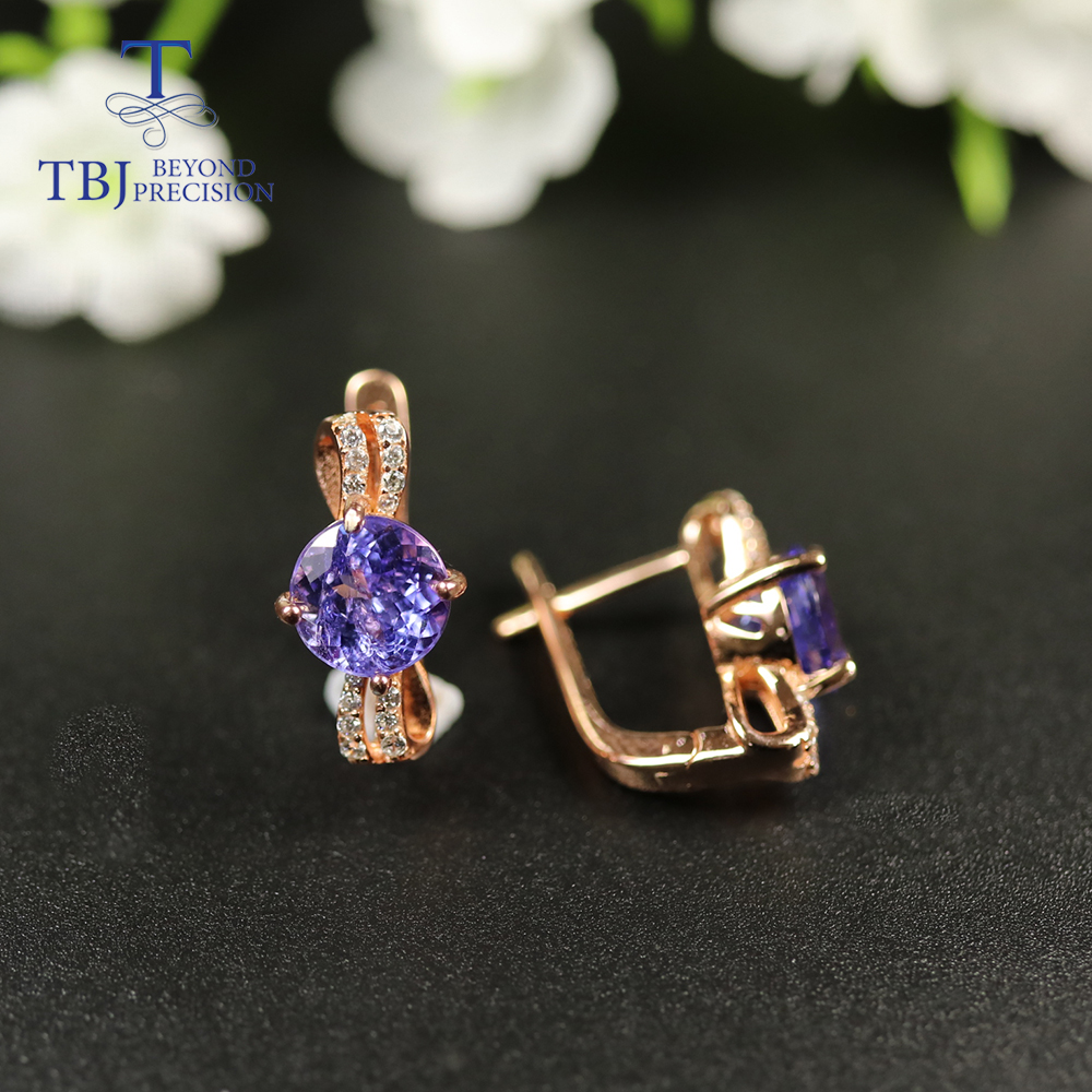 Tbj  Round 7mm 2ct Up Natural Blue Tanzanite Clasp Earring 925 Sterling Silver Fine Jewelry For Women Best Gift  Mom Wife