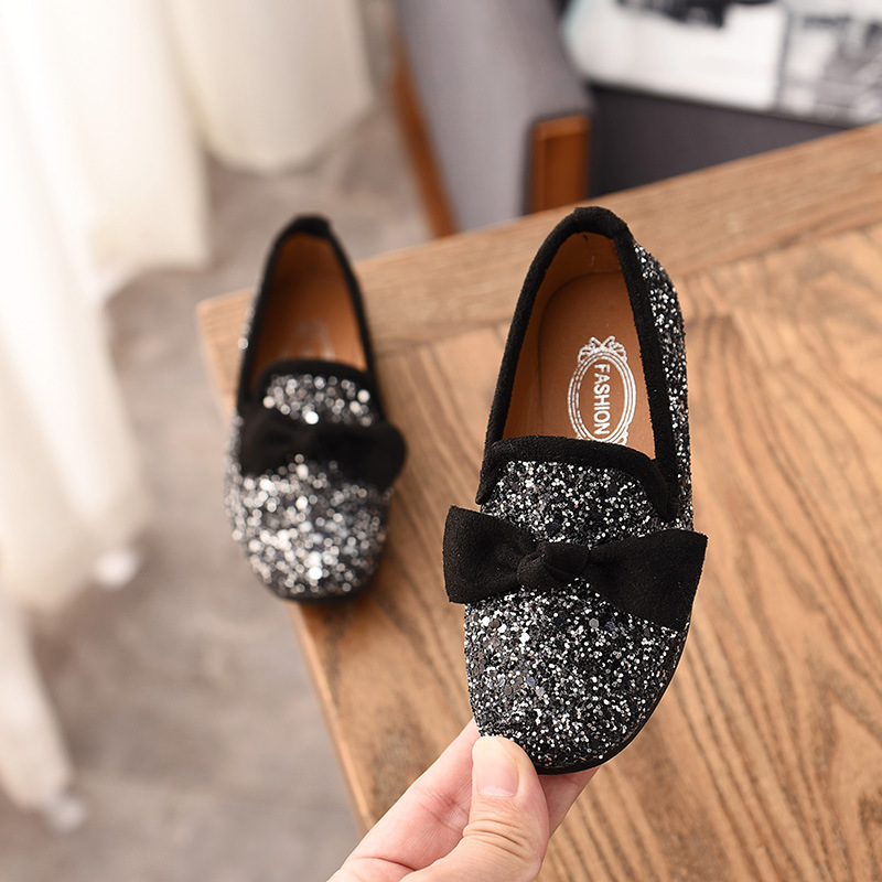 New Spring Girls Leather Shoes For Children's Fashion Princess Bow Sequin Casual Shoes Girls Soft Bottom Flowers Princess Shoes