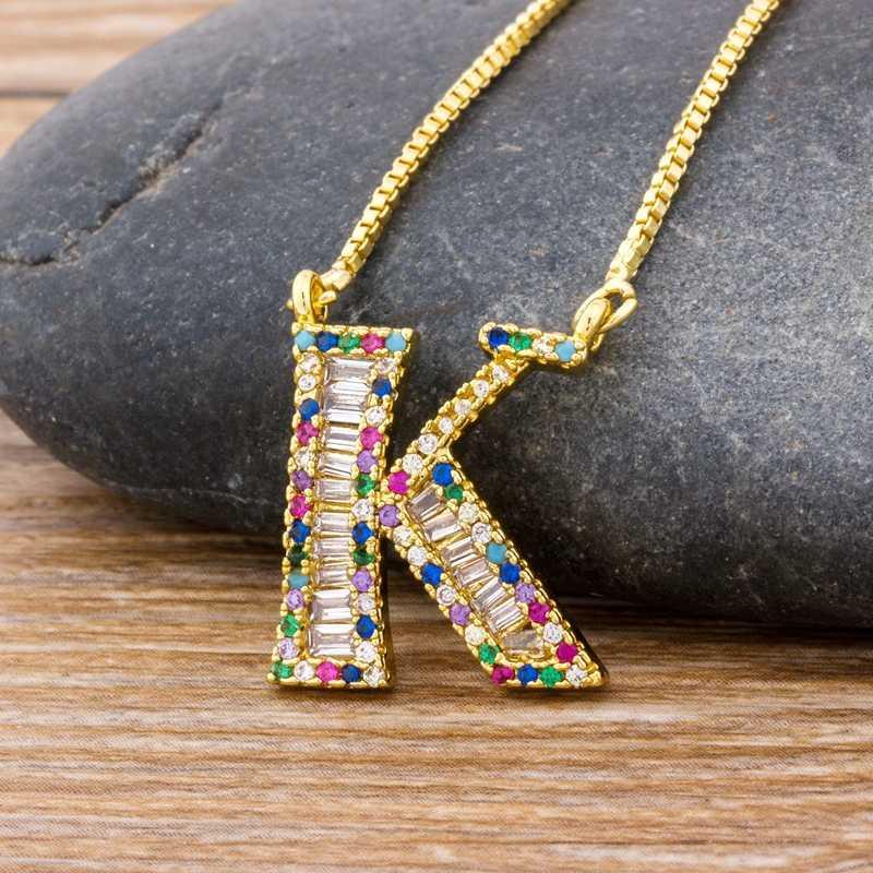 Baru Kedatangan Fashion Khusus Desain Kustom 26 Huruf Awal Kalung Tembaga CZ Rainbow Liontin Nama Keluarga Hadiah Perhiasan
