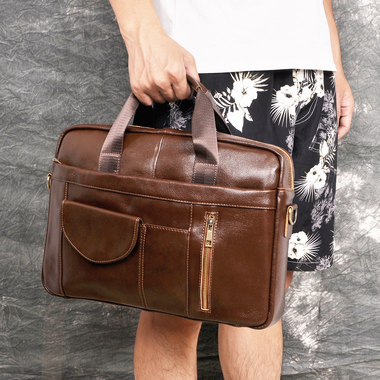 Men Genuine Leather Vintage Fashion Travel Briefcase Business 15.6