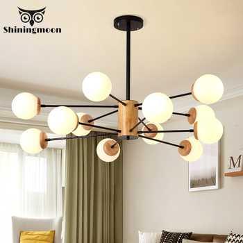 Iron and Black LED Chandelier Lighting Modern Wooden Art Living Room Bedroom Lighting Lustre Bar Cafe Hanging Lamp 110V 220V - DISCOUNT ITEM  20% OFF All Category