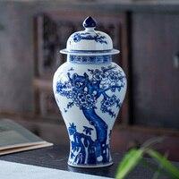 Jingdezhen hand painted blue and white porcelain general tank ornament antique plum blossom pattern jar home decoration jar