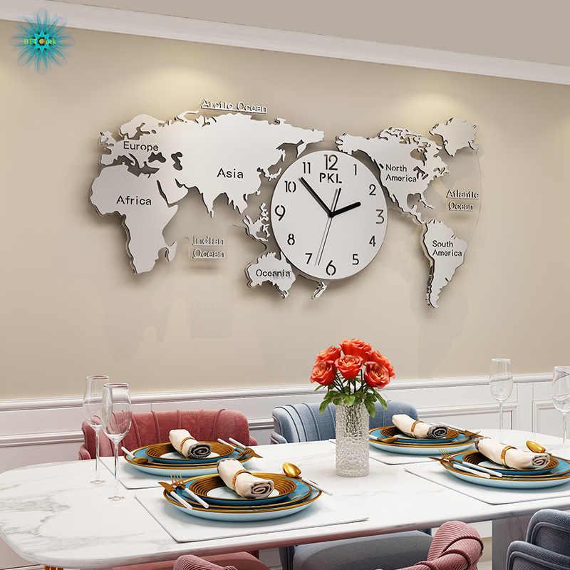 Modern Design Grote Wereldkaart Klokken Grote Wandklok Acryl 3d Klokken Muur Home Decor Woonkamer Stille Muur Horloge Mechanisme Wall Clocks Aliexpress