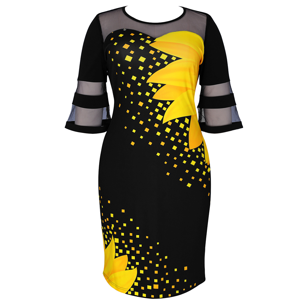 Plus Size Women Floral Printed Casual Dress  4