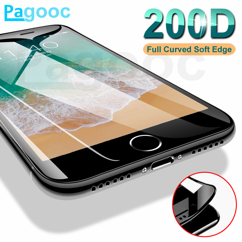200D Curved Soft Edge Protective Glass For IPhone 6 6S 7 8 Plus X XR Screen Protector Tmpered Glass On IPhone Xs 11 Pro Max Film