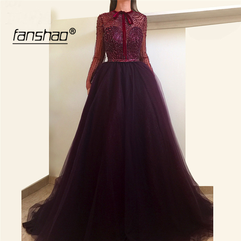 Burgundy Evening Dress A-Line Full Sleeve Heavy Bead Dubai Special Occasion Dress New Arrival Formal Dress Evening Party Gown