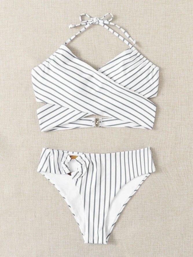 Women Female Two-Piece Swimsuits Womens Solid Color Bikini Top+ High Waist Panties Purple S/M/L 4