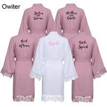 Owiter Rayon Cotton Kimono Robes with Lace Trim Mauve Solid Women Wedding Bridal Robe Short Belt Bathrobe Sleepwear White