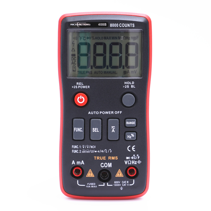 RM408B Digital Multimeter Button 8000 Counts True-RMS Temperature Test 5MHz Frequency ACDC Voltage Current 9.999mF Capacitance