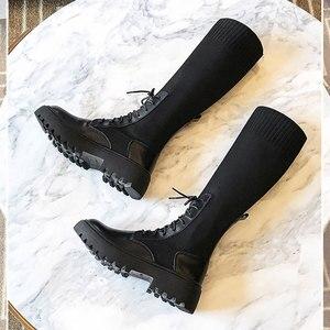 Image 3 - النساء جورب الأحذية منتصف العجل الجوارب امرأة أحذية خفيفة أنيقة الإناث مريحة سميكة وحيد بوتاس موهير جديد مصمم دروبشيبينغ