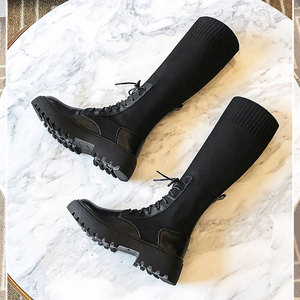 Image 3 - Women Sock Boots Mid Calf Booties Woman Fashion Casual Shoes Female Comfortable Thick Sole Botas Mujer New Designer Dropshipping