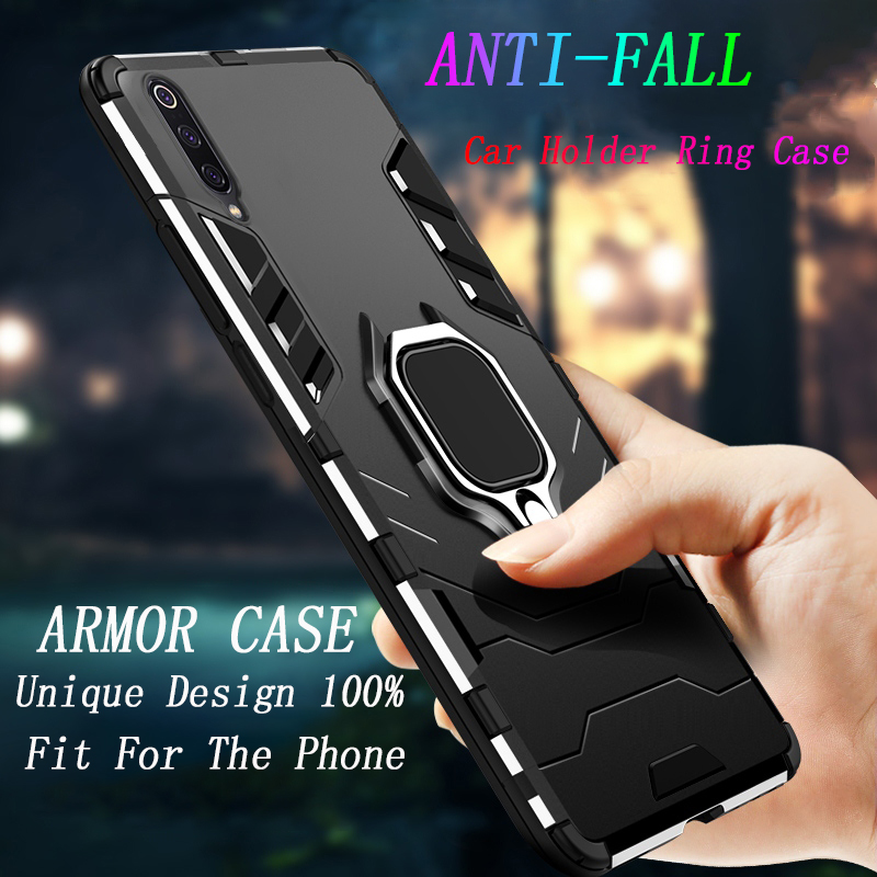 Luxury Armored Shockproof Phone <font><b>Case</b></font> For Xiaomi <font><b>Note</b></font> 10 Lite 9SE 8 CC9 CC9E 9T Pro soft TPU <font><b>Case</b></font> hard PC cover <font><b>With</b></font> Holder <font><b>Ring</b></font> image