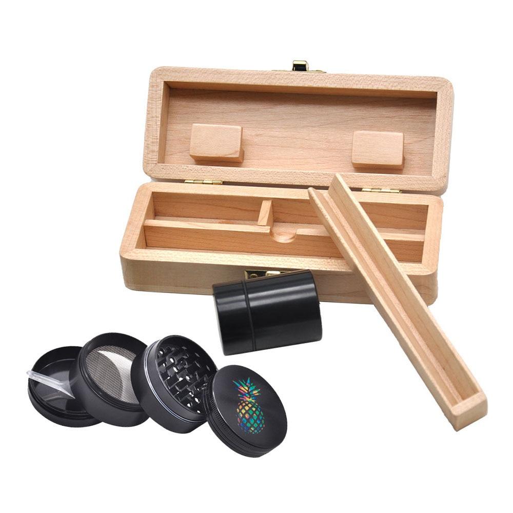 Tobacco Wooden Stash Case Box  Aluminum Herb Grinder  Metal Smoking Stash Storage Jar Smoke Hand Pipe Smoking gift cigarette Box 3