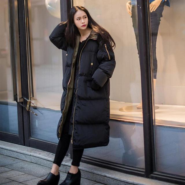 Automne hiver veste femmes Parka chaud épais Long duvet coton manteau femme lâche Oversize à capuche femmes hiver manteau survêtement Q1933 4
