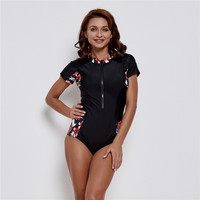 Sexy Bodysuits One Piece Swimsuit Women Swimwear Monokini Floral Swimwear Push Up Bathing Suit Print Zipper Bodysuit Beach Wear