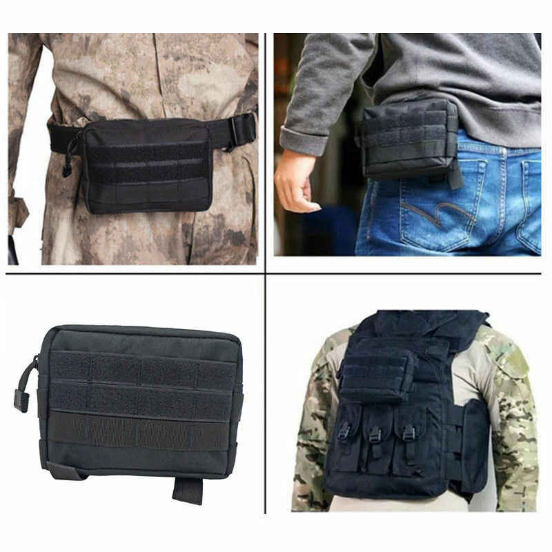 สีดำยุทธวิธี MOLLE POUCH EDC อเนกประสงค์เข็มขัดเอวแพ็คกระเป๋ายูทิลิตี้กระเป๋าโทรศัพท์เอวแพ็คกระเป๋า