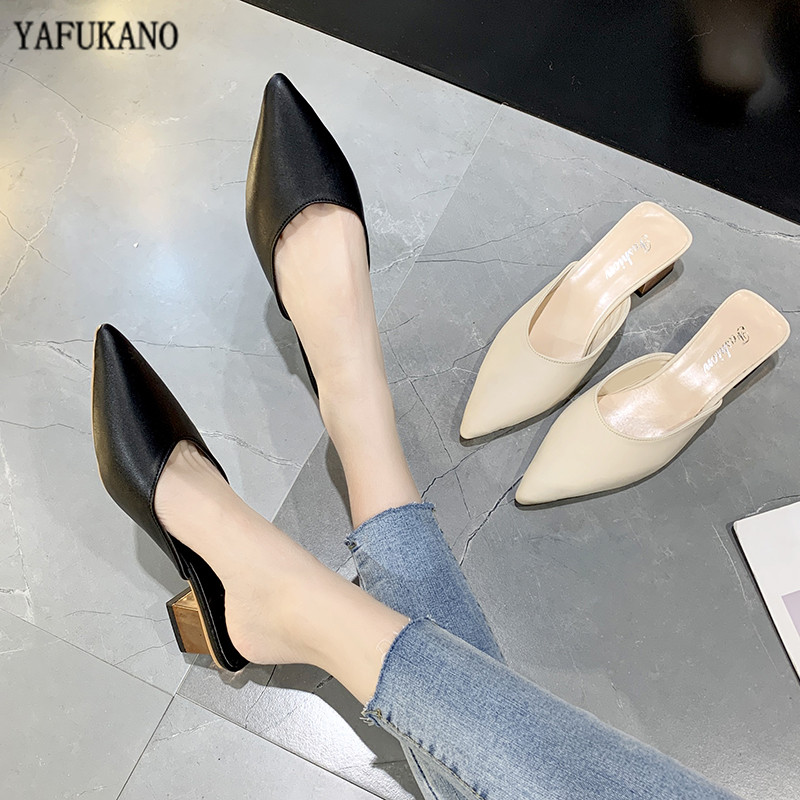 Women Slippers Female Low Heels Mule Shoes Women Slip On Outdoor Slides Pointed Toe Elegant Ladies Shoes Autumn Flip Flops Shoes