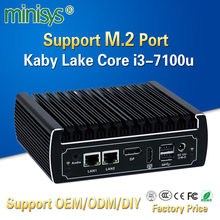 Minisys fanless 4K mini pc intel core i3-7100u dual lan windows 10 net gaming desktop pocket computer support 8gb ram 64gb ssd(China)