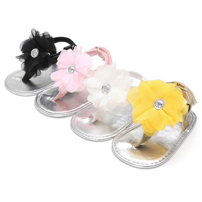 Baby Shoes Girl Flats Sandals PU Anti-Slip Silver Sole Summer Flower Crib Newborn First Walker Shoes 4-colors
