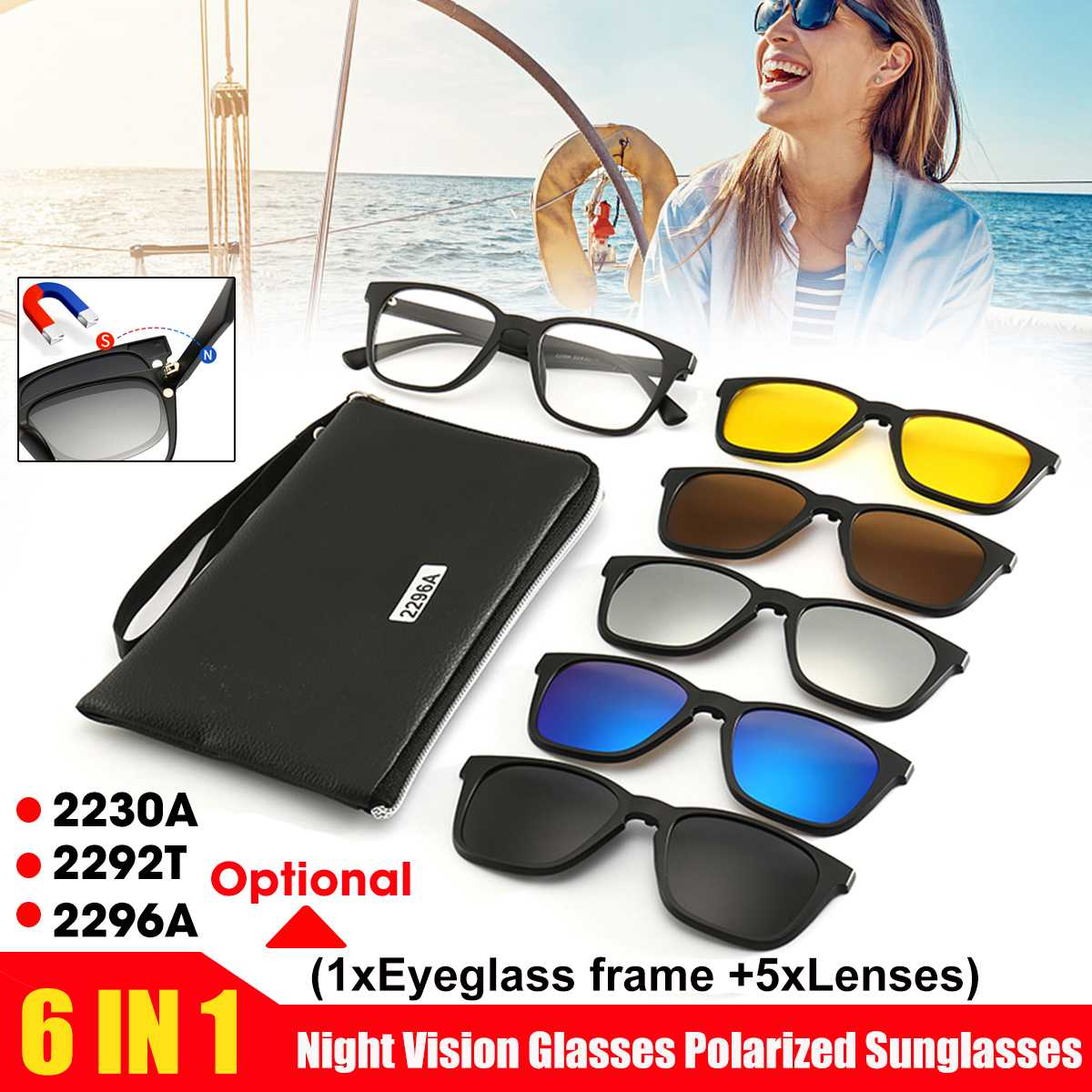 2292T/2230A/2296A <font><b>6</b></font> <font><b>in</b></font> <font><b>1</b></font> Clip On <font><b>Sunglasses</b></font> with Polarized Mirror Flat Night Vision Magnetic Lens Clips Optical Myopia Glasses image