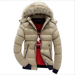 Image 5 - 2020 Men Winter Coat Warm Fleece Down Jacket 9 Color New Fashion Fur Hood Hat Men Outerwear Casual Mens Coats Thick Hoodies 4XL