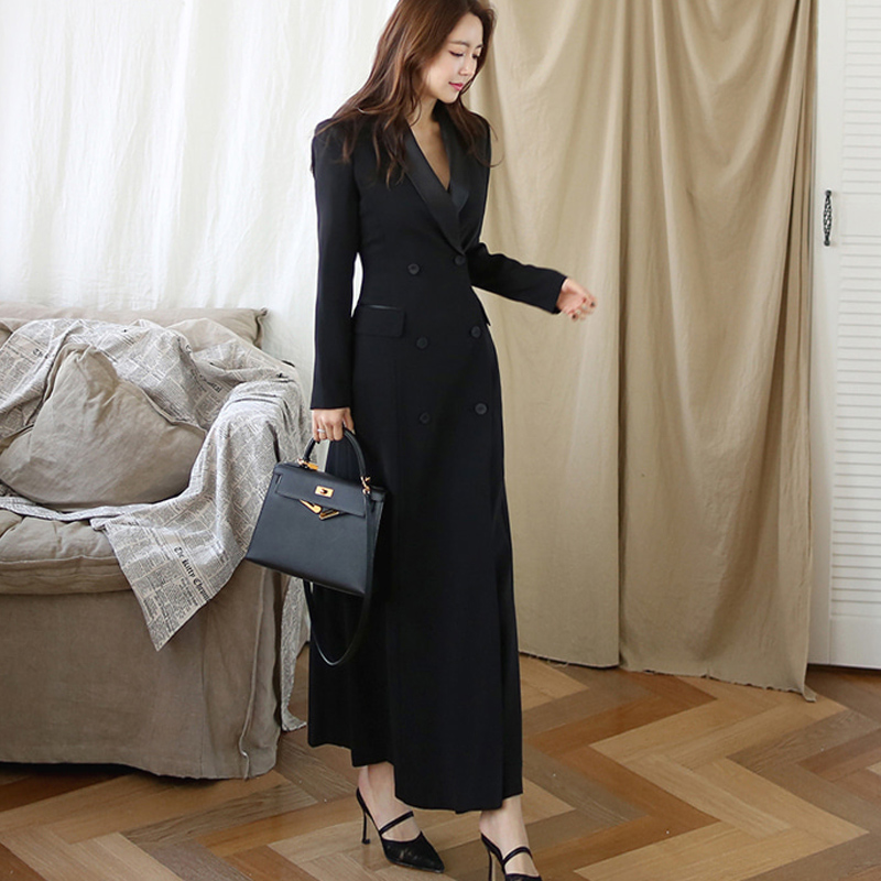 New Autumn Winter Office Lady Runway Designer Women  Long Trench Coat  Notched Collar Wrap Black  Maxi Coat Outwear