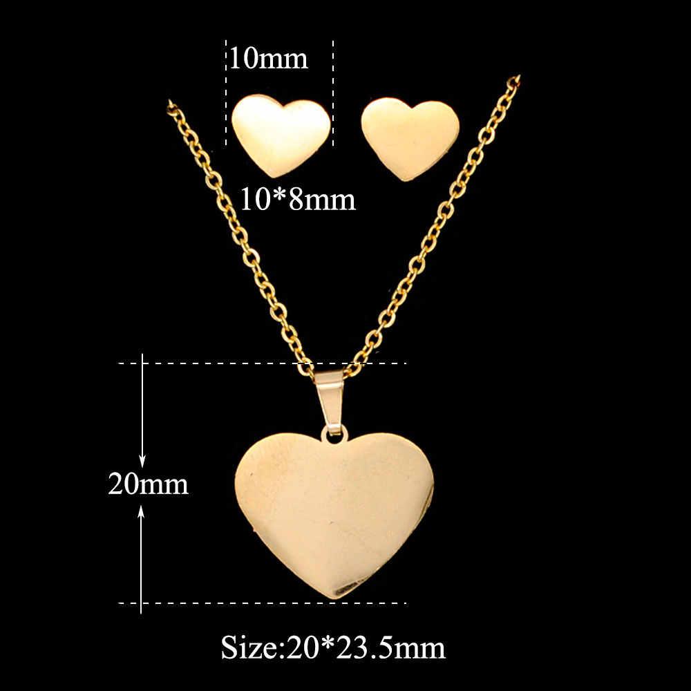 100% Edelstahl PVD Gold Gefüllt Plain Herz Ohrring Halskette Schmuck Set AAAAA Qualität Nie Trüben 45cm Anhänger Halsketten