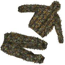 1 комплект охотничья одежда 3D лист пальто брюки камуфляж открытый джунгли часы птица